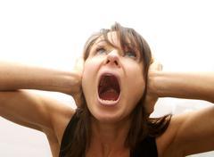 Screaming woman Stock Photos
