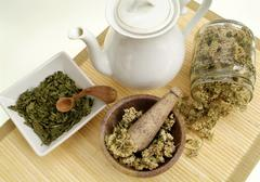 dried herbs for tea - stock photo