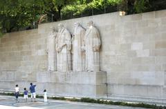 Reformation monument wall of reformers f.l.t.r. guillaume farel, jean calvin, Stock Photos