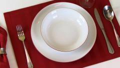 Dinnerware Table Setting Zoom Out HD Stock Footage