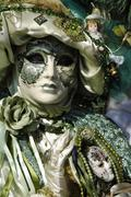 Portrait, green mask at carneval in venice, italy Stock Photos