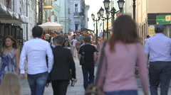 The bustling city center a lot of people Stock Footage