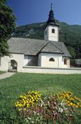 church of stara fuzina, triglav national park, gorenjska region, slovenia - stock photo
