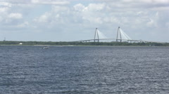 Charleston SC Ravenel Bridge Stock Footage