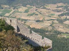 the castle, fortress chateau de peyrepertuse is appropriate for 800 m for ove - stock photo