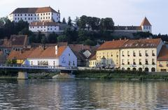 City of ptuj at river drau, drava, stajerska region, slovenia Stock Photos