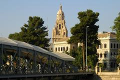 Spire of the cathedral and miguel caballero bridge murcia spain Stock Photos