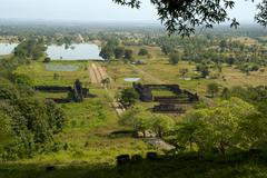 Stock Photo of view at the archaeological site khmer temple wat phu champasak laos