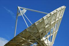 cassegrain parabolic antenna with subreflector satellite land earth station l - stock photo