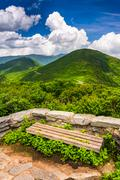 Bench and view of the appalachians from craggy pinnacle, near the blue ridge  Stock Photos