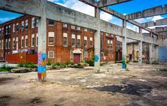Graffiti on the ruins of an old building in glen rock, pennsylvania. Stock Photos