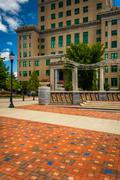 pack square park and the buncombe county courthouse in asheville, north carol - stock photo