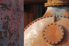 rusty iron boiler on the gelaende of the former coking plant hansa, westfaeli - stock photo