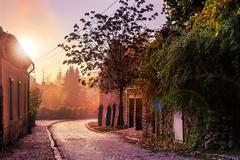 morning cobbled street in old town - stock photo