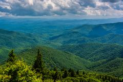 view of the appalachians from devils courthouse, near the blue ridge parkway  - stock photo