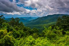 view of the appalachians from the blue ridge parkway in north carolina. - stock photo