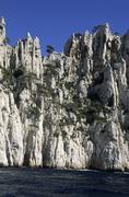 High cliffs at calanque de l´oule, provence, france Stock Photos
