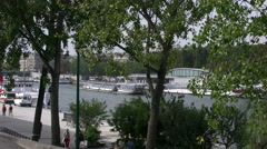 Paris Seine with walk way and boat 4k Stock Footage