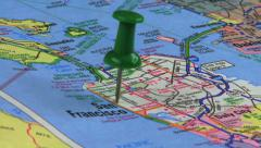 Thumbtack in San Francisco Road Map HD Stock Footage