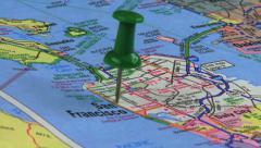 Thumbtack in San Francisco Road Map HD - stock footage