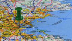 Thumbtack in Boston Road Map HD - stock footage