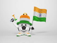Soccer character fan supporting india Stock Illustration