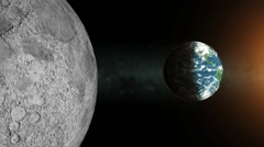 Earth view from the Moon orbit in the open space Stock Footage