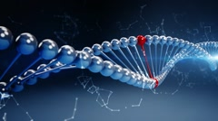 Blue background with rotating deoxyribonucleic acid, DNA Stock Footage
