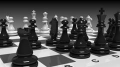 Chess board with chessmen in motion with alpha Stock Footage