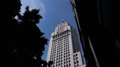 View of the city. Sao Paulo, Brazil. Banespa building and Sao Paulo´s flag 3 Stock Footage
