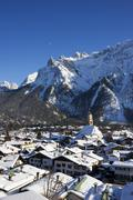 Stock Photo of mittenwald forest and the karwendel range in wintertime, bavaria, germany, eu