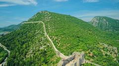 Mali Ston on Peljesac peninsula, aerial Stock Footage