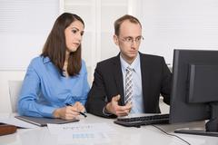Gossip and harassment under business people on workplace - critic, chicane an Stock Photos