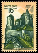 vintage  postage stamp. fortress, kamenets - podolsky. - stock photo