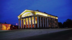 Facade of Russian Dramatic Theater with columns Stock Footage