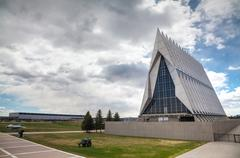 United states air force academy cadet chapel in colorado springs Stock Photos