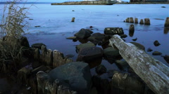 Onega lake old port in winter twilight Stock Footage