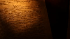 Pan across US Constitution, ending on We The People Stock Footage