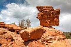 balancing rock in garden of the gods - stock photo