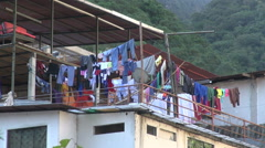 Peru Aguas Calientes laundry on roof s - stock footage