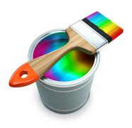Stock Illustration of bank with rainbow  paint and brush