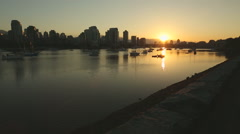 Dolly shot Sunrise, False Creek, Vancouver Stock Footage