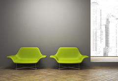 modern interior with pair of green armchairs - stock illustration