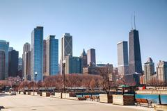 chicago downtown cityscape - stock photo