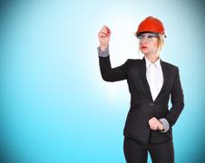 woman engineer with pen - stock photo