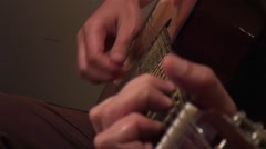 Finger Stjle playing acoustic guitar Stock Footage