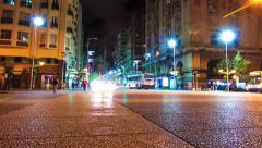 Nightly traffic on the Plaza Independencia in Montevideo Stock Footage