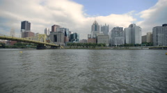 Pittsburgh Skyline from River Stock Footage