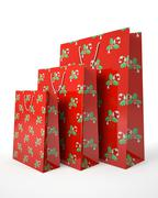 christmas carrier paper bags isolated on white background illustration - stock illustration