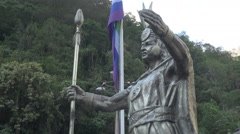 Peru Aguas Calientes Inca statue side view s - stock footage